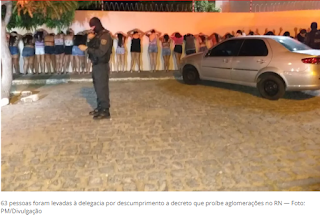 Em Santa Cruz RN, PM encerra festa e leva 63 pessoas à delegacia por fazerem aglomeração durante pandemia