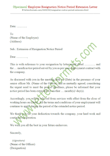 employee notice period extension letter format