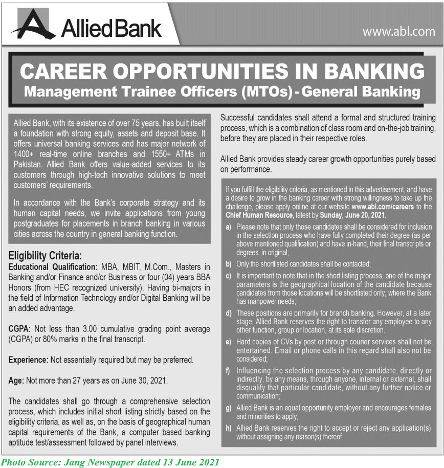 Allied Bank MTO Jobs 2021 Latest Apply Online for ABL Jobs June 2021 Allied Bank Management Trainee Officers
