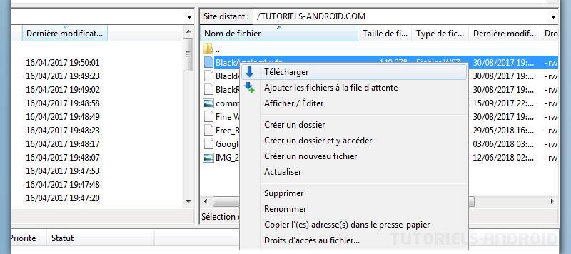 Télécharger des fichiers depuis Android avec FileZilla