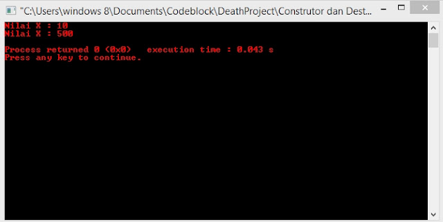 Gambar Output Program Constructor Standar C++11