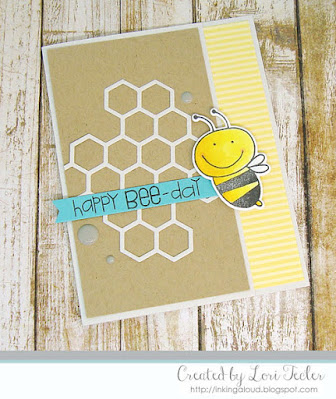 Happy Bee-Day card-designed by Lori Tecler/Inking Aloud-stamps and dies from Paper Smooches