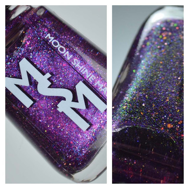 purple jelly nail polish with color shifting flakies and shimmer in a bottle