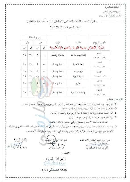 جدول امتحانات الصف السادس الابتدائي 2017 الترم الأول محافظة الاسكندرية