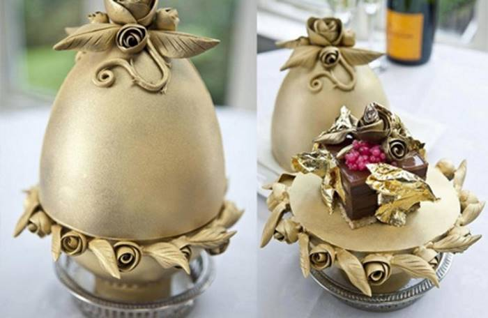 The most expensive dessert in the world was prepared by British chef Mark Guibert. Faberge egg-shaped pudding includes four types of Belgian chocolate, champagne, caviar and edible gold. This gastronomic chaos is crowned by a magnificent diamond. The cost of dessert - 35,000 dollars.
