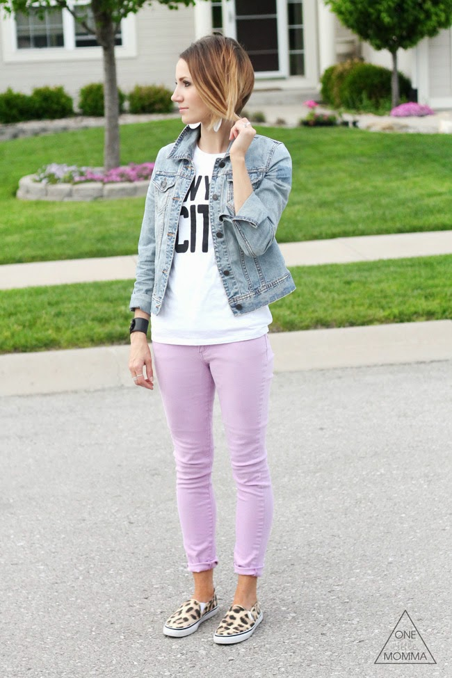 LIlac jeans, leopard sneakes, a graphic tee and denim jacket