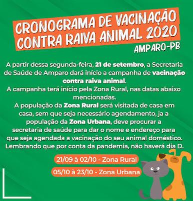 Campanha de Vacinação contra raiva animal começou nessa segunda-feira em Amparo