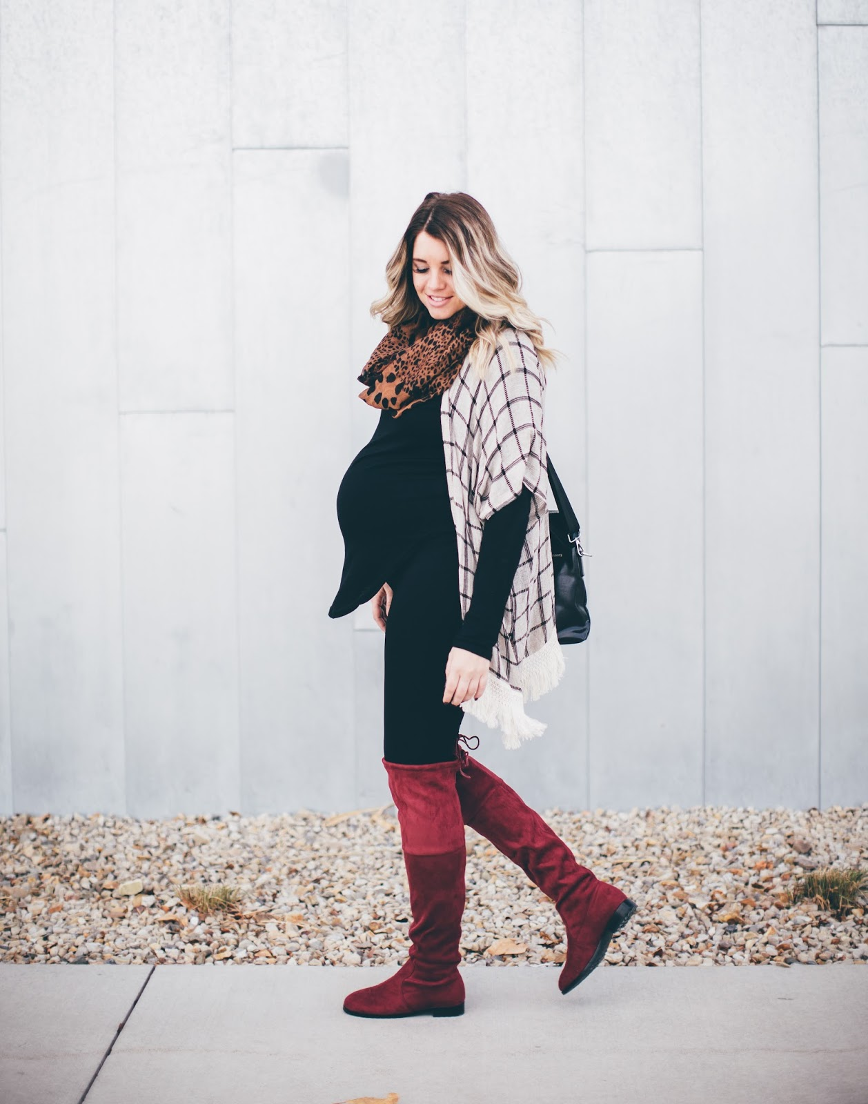 Pink Blush, Cardigan, Knee High Boots, Maternity Outfit
