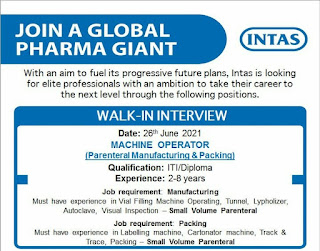 Intas Pharmaceuticals Limited Matoda, Ahmedabad Walk-In Interview For ITI and Diploma Holders On Machine Operators Position