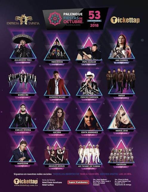 Conciertos Palenque Fiestas de Octubre 2018