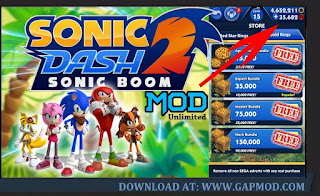 Download Sonic Dash 2: Sonic Boom v2.0.1 APK MOD Unlimited Money
