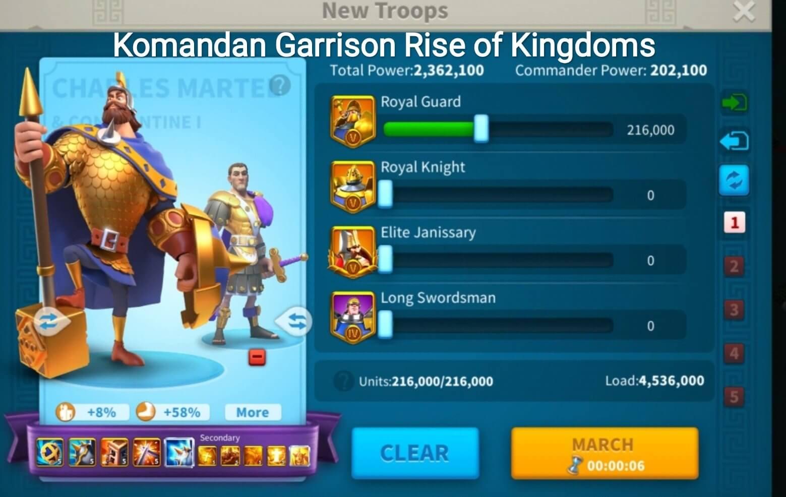 komandan garrison rise of kingdoms