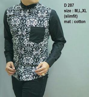 baju batik pria lengan panjang kombinasi polos