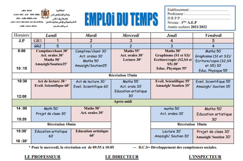 Emploi du temps selon la note 2156-2 pdf