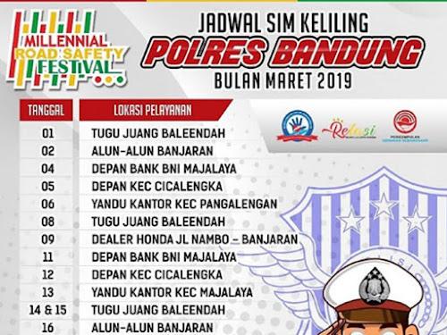 Jadwal Layanan SIM Keliling Polres Bandung Bulan Maret 2019