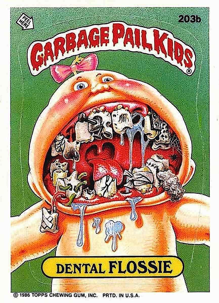 Garbage Pail Kids Dental Flossie chewing gum and sticker by Bill Elder 1986