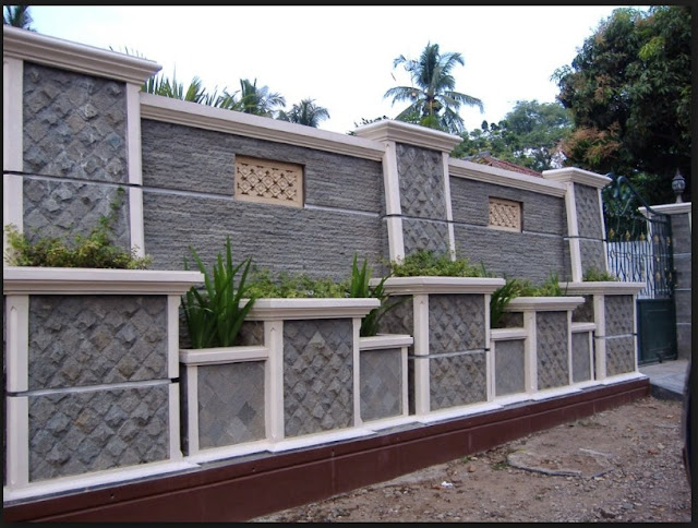 Model pagar beton rumah minimalis