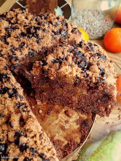 Czekoladowe ciasto z gruszkami i kruszonką przepis