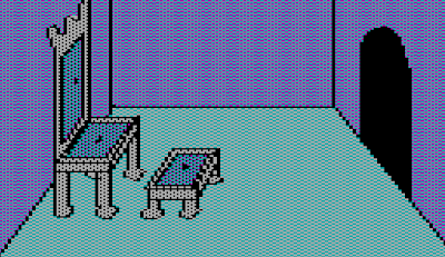 Image from the Sierra game, The Wizard and the Princess (1980).  It shows a small throne room.