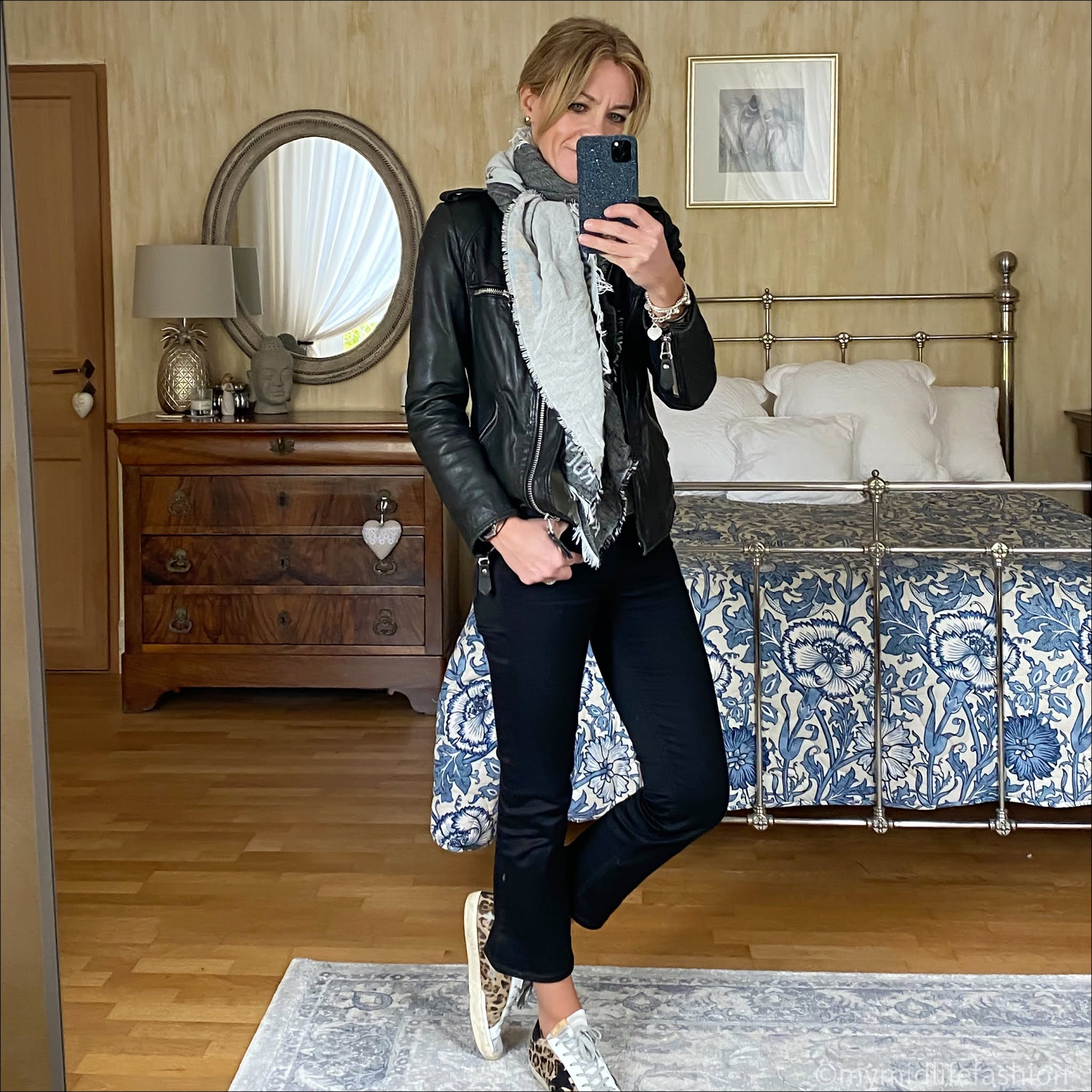 my midlife fashion, saint and Sofia black rock and roll scarf, Isabel Marant Etoile leather jacket, marks and Spencer pure cashmere crew neck jumper, j crew sammie cropped kick flare jeans, golden goose superstar low top leather trainers