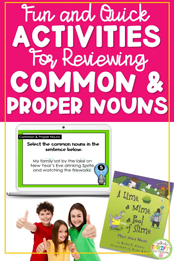 Fun and quick activities to use when reviewing common nouns and proper nouns with your upper elementary students.