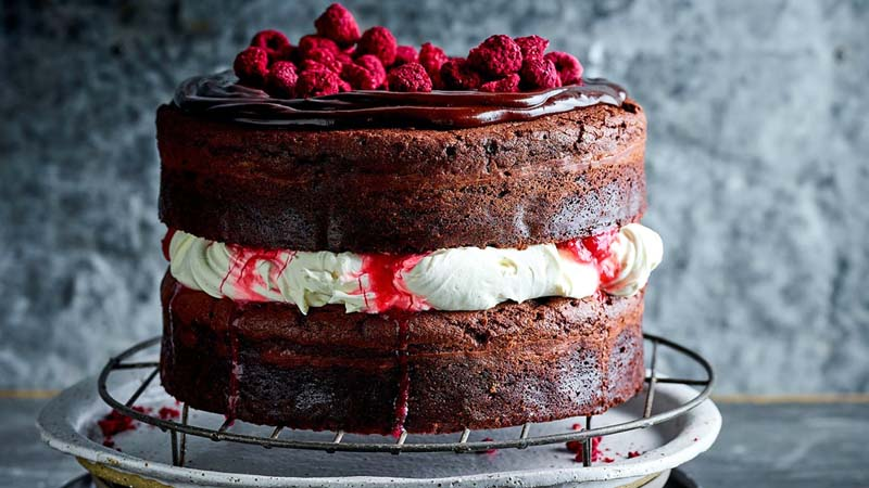 Rhubarb and Raspberry Black Forest cake