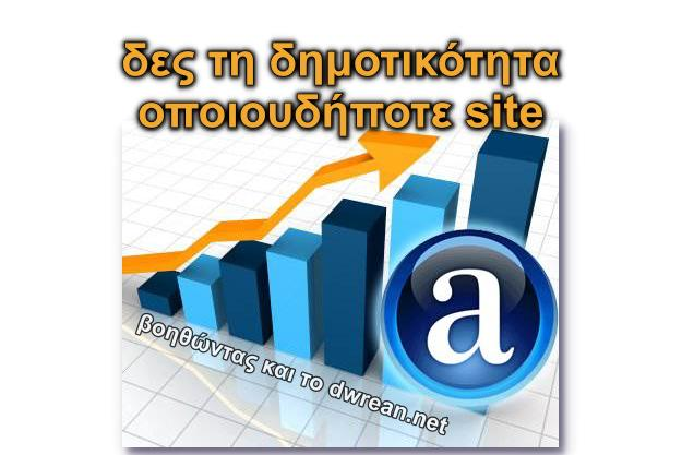 Alexa Traffic Rank - Δες τη δημοτικότητα οποιασδήποτε ιστοσελίδας