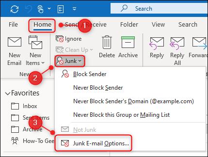 """خيار القائمة """"خيارات البريد الإلكتروني غير الهام"""" في Outlook."""