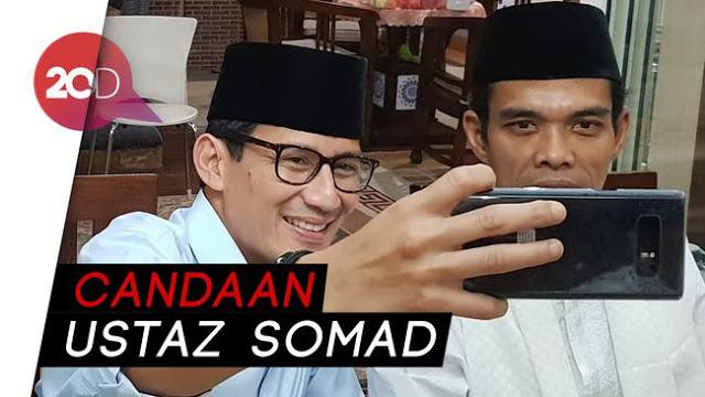 Sandi Ngakak Ketika Ketemu Ustadz Abdul Somad: Ini Cawapres Yang Tertukar