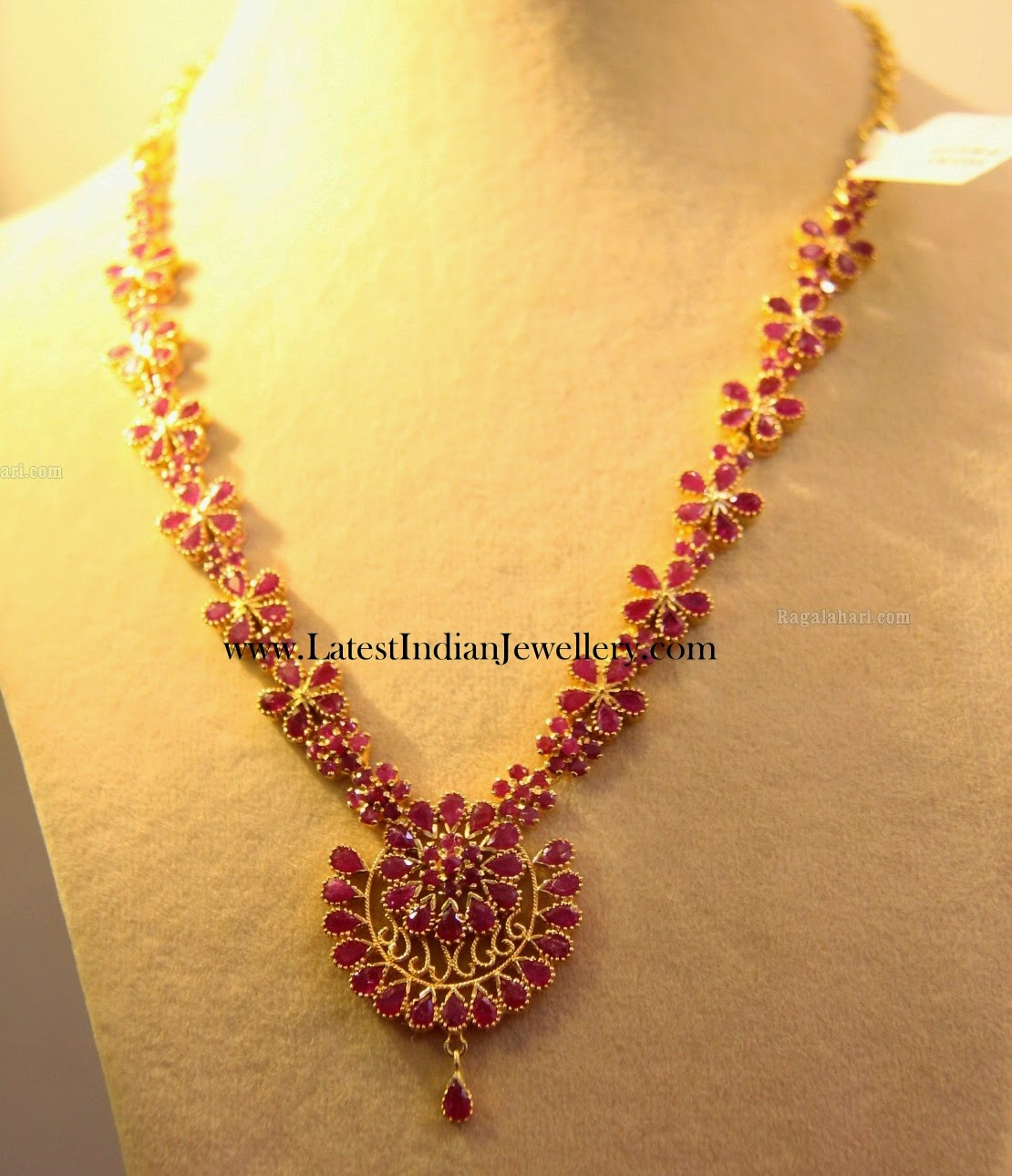 Floral Design Latest Ruby Necklace