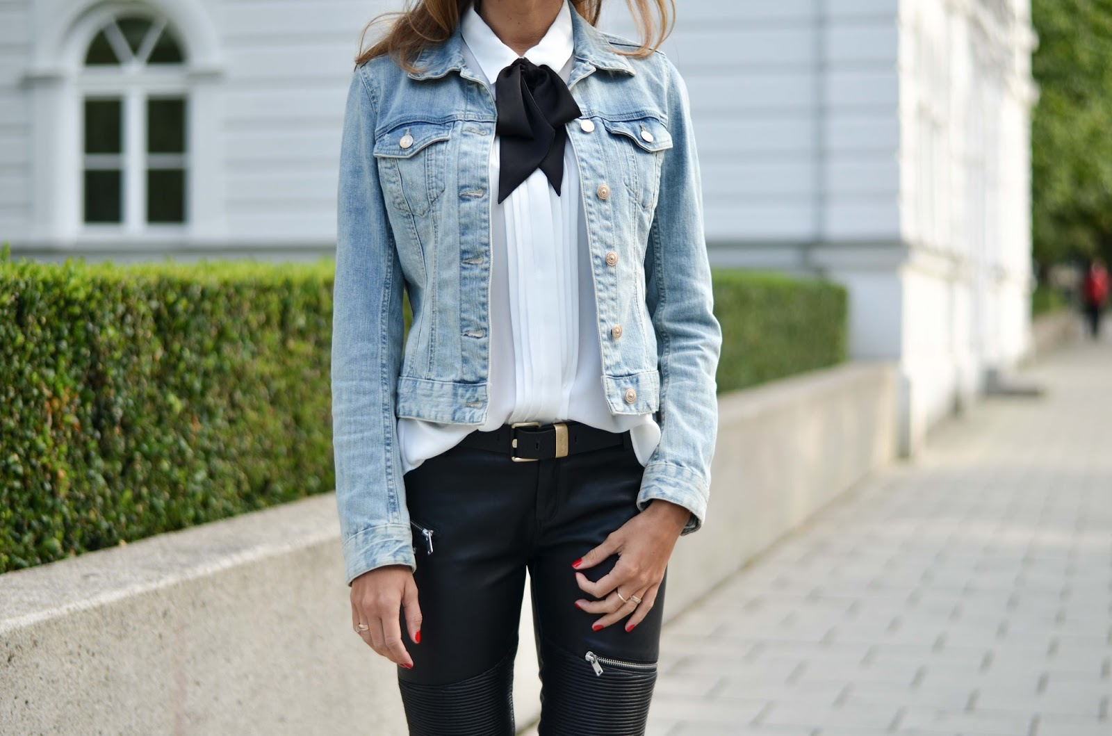 kristjaana mere hm bow tie blouse denim jacket leather pants