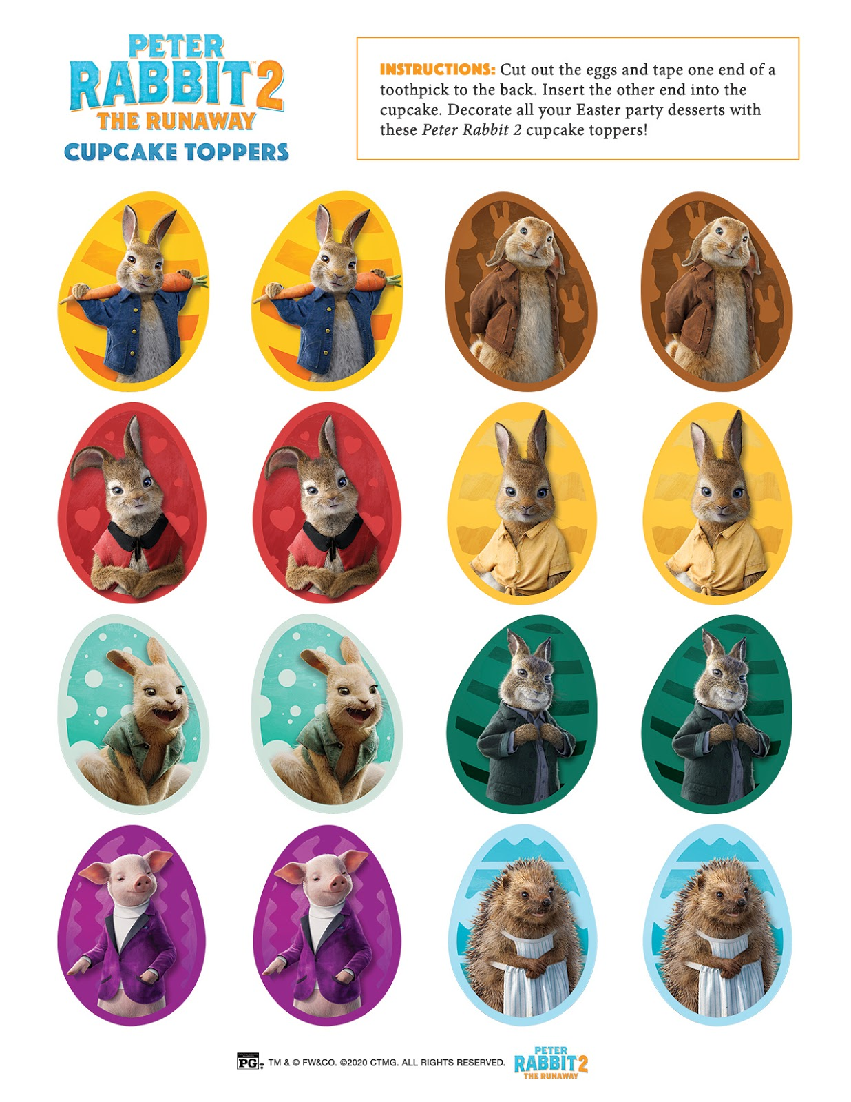 Peter Rabbit 2 Cupcake Toppers