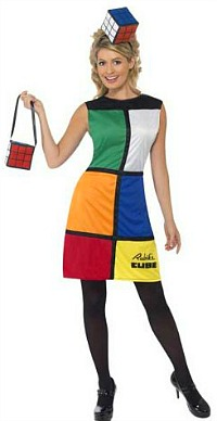 Rubiks Cube fancy dress outfit for ladies with hat and handbag