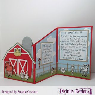 Farmer's Prayer, Stamp/Die Duos: Farm Friends, Custom Dies: Barn, Farm Fence, Grass Lawn, Clouds and Raindrops, Pierced Squares, Squares