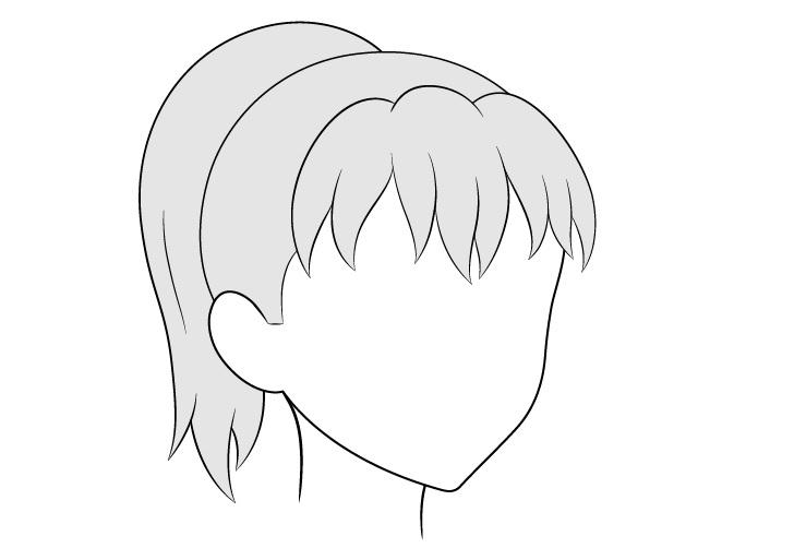 Anime ponytail hair 3/4 lihat gambar