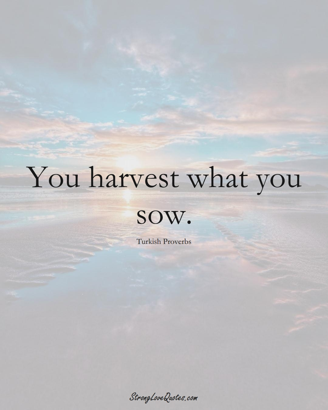 You harvest what you sow. (Turkish Sayings);  #MiddleEasternSayings