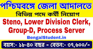 Steno, Lower Division Clerk, Group-D, Process Server Recruitment 2019 Apply Online For 69 Posts under District Judge, Howrah