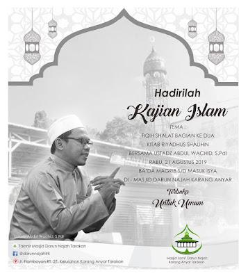 Jadwal Kajian Islam di Masjid Darun Najah, Karang Anyar, Tarakan - Kajian Islam Tarakan