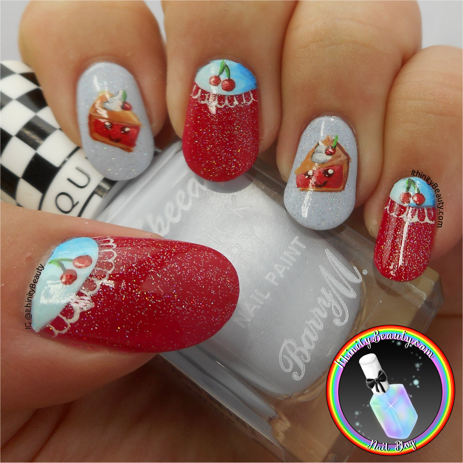 Freehand Kawaii Cherry Pie & Half Moon Nail Art | IthinityBeauty.com ...