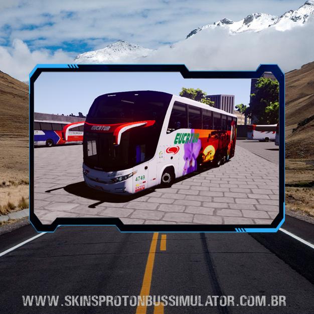 Skin Proton Bus Simulator - G7 1600 LD Scania 6X2 K420 Viação Eucatur Arara Vermelha