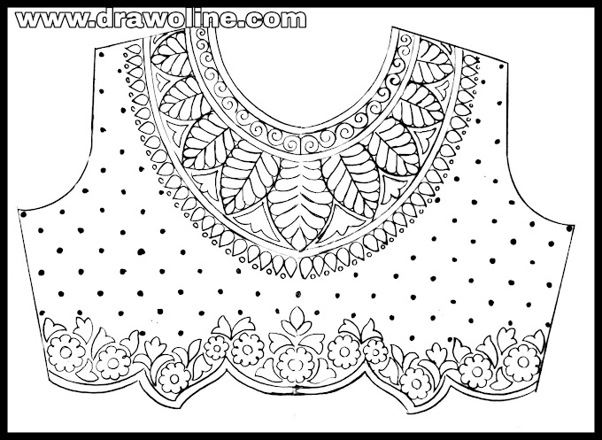 How to draw new maggam work blouse designs 2020/maggam work blouse neck designs images