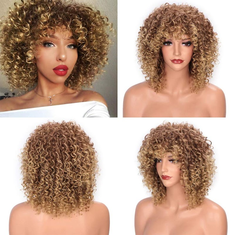 50% off  Afro Kinky Curly Synthetic Short Wig With Bangs
