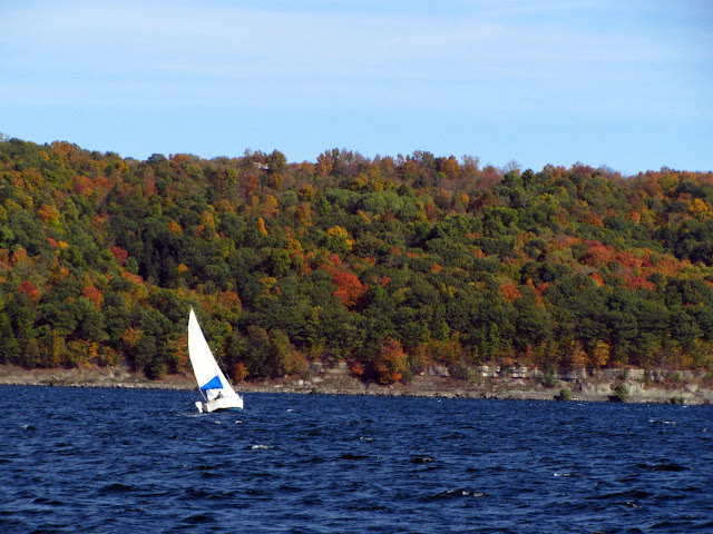 A sailboat on Cayuga Lake