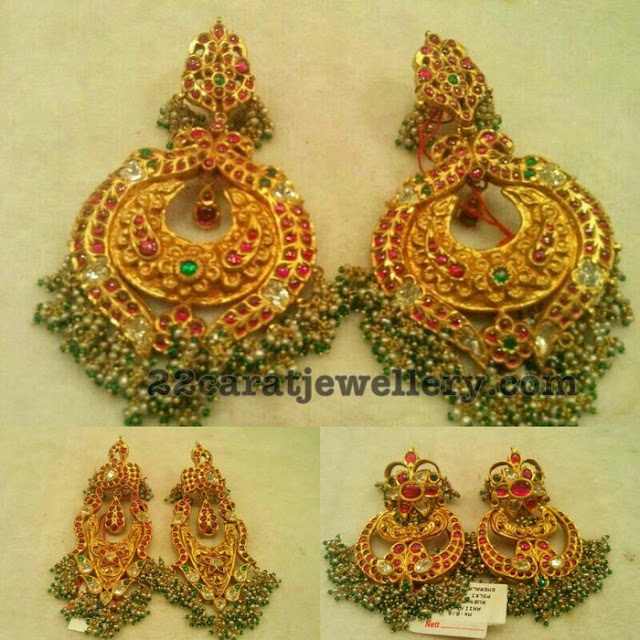 Chandbalis with Semi Precious Beads