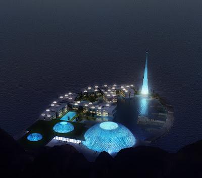 Perspective 3d logements Mascate Oman rendu de nuit