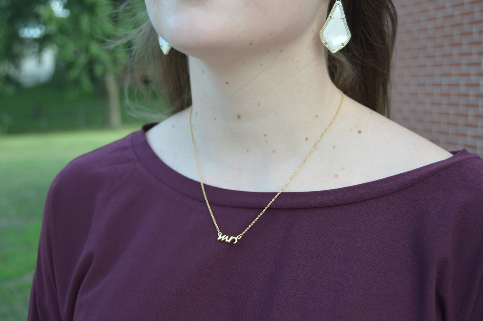 kate spade mrs necklace | alex earrings from kendra scott | cute accessories to wear for date night | a memory of us |