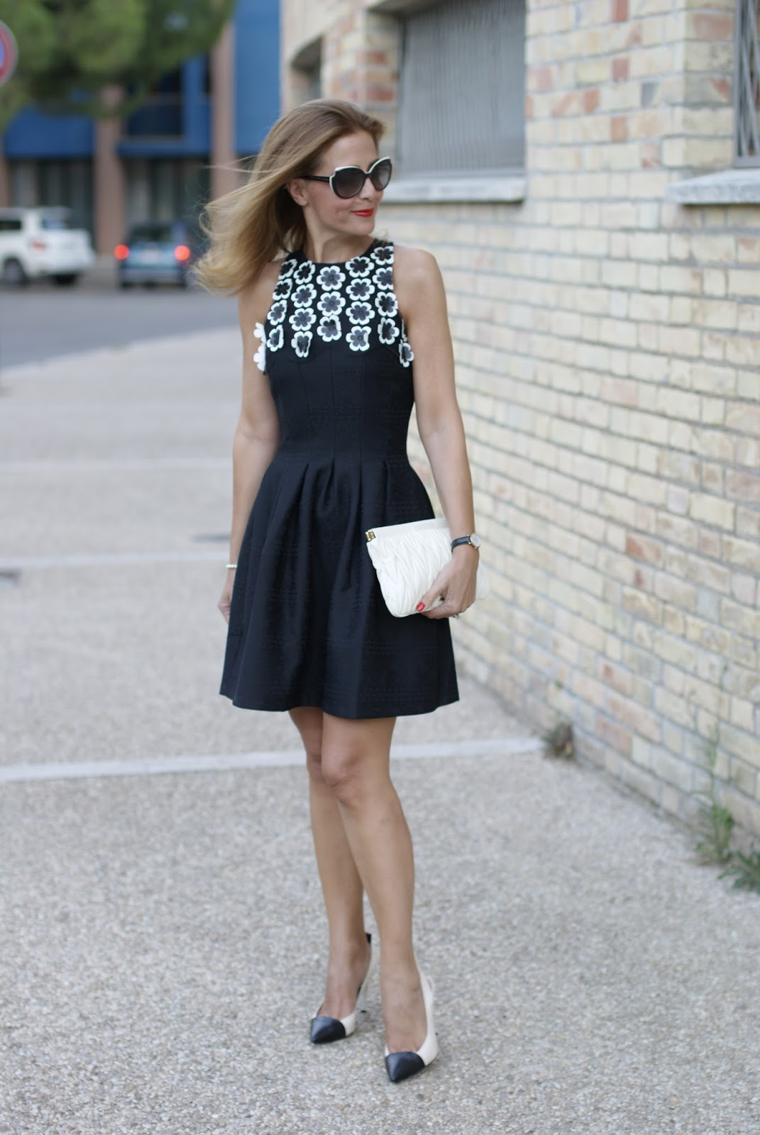#DesigualSales black dress with 3d flowers and cap toe pumps on Fashion and Cookies fashion blog, fashion blogger style