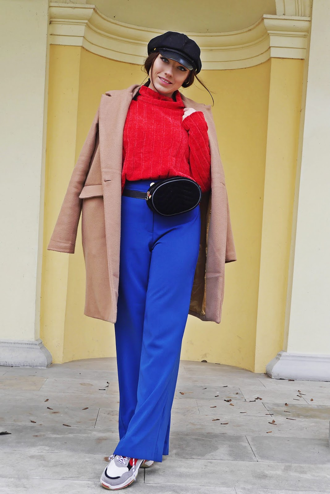 cobalt pants red turtleneck beige coat outfit lokk karyn fashion blogger