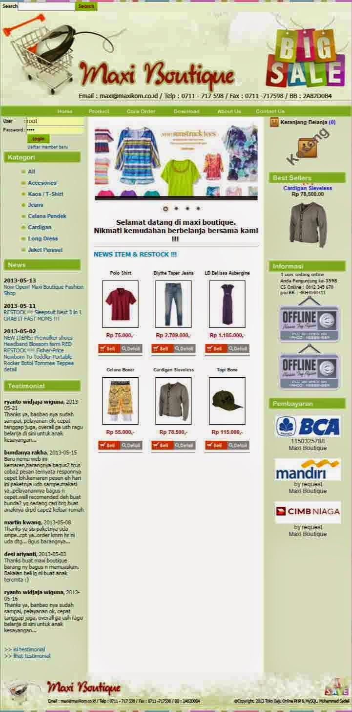 Source Code Toko Online Toko Baju Maxi Boutique