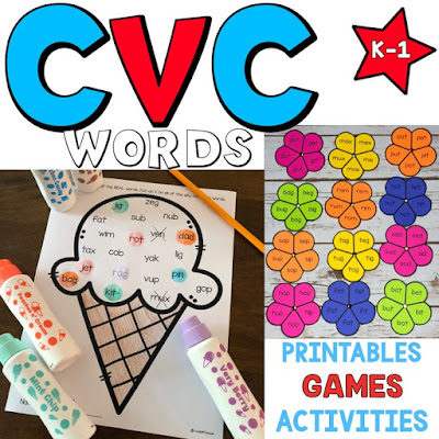 CVC Word Work resource from TheHappyTeacher
